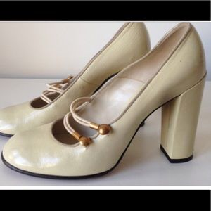 MARC JACOBS Patent Leather Mary Jane Button Heels